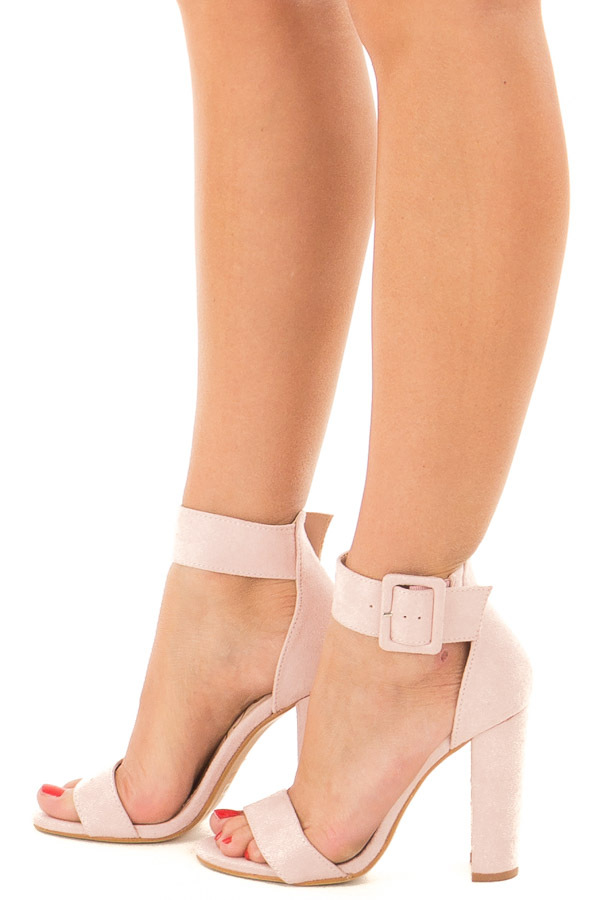Mauve Faux Suede High Heel with Thick Buckle Ankle Strap side