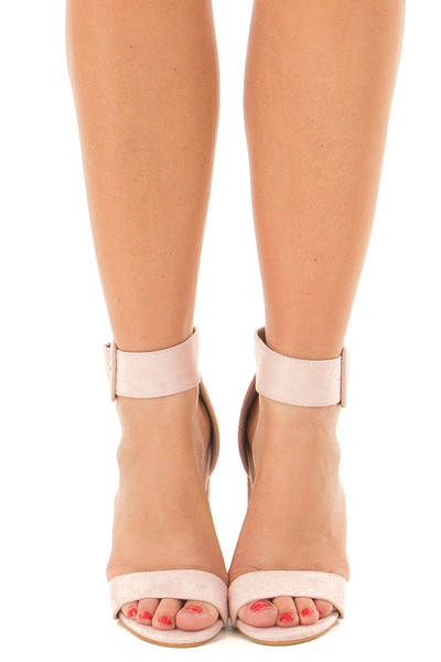 Mauve Faux Suede High Heel with Thick Buckle Ankle Strap front