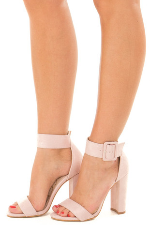 Mauve Faux Suede High Heel with Thick Buckle Ankle Strap front side
