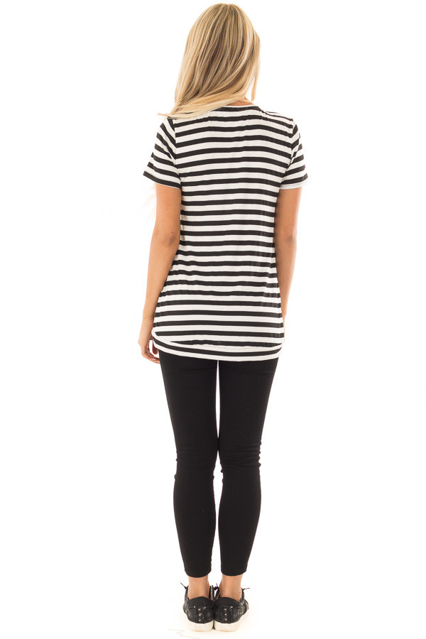 Black and White Striped Top with Button Detail back full body