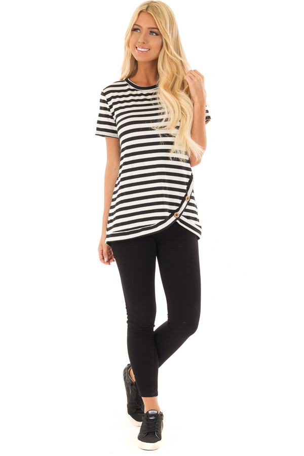 Black and White Striped Top with Button Detail front full body