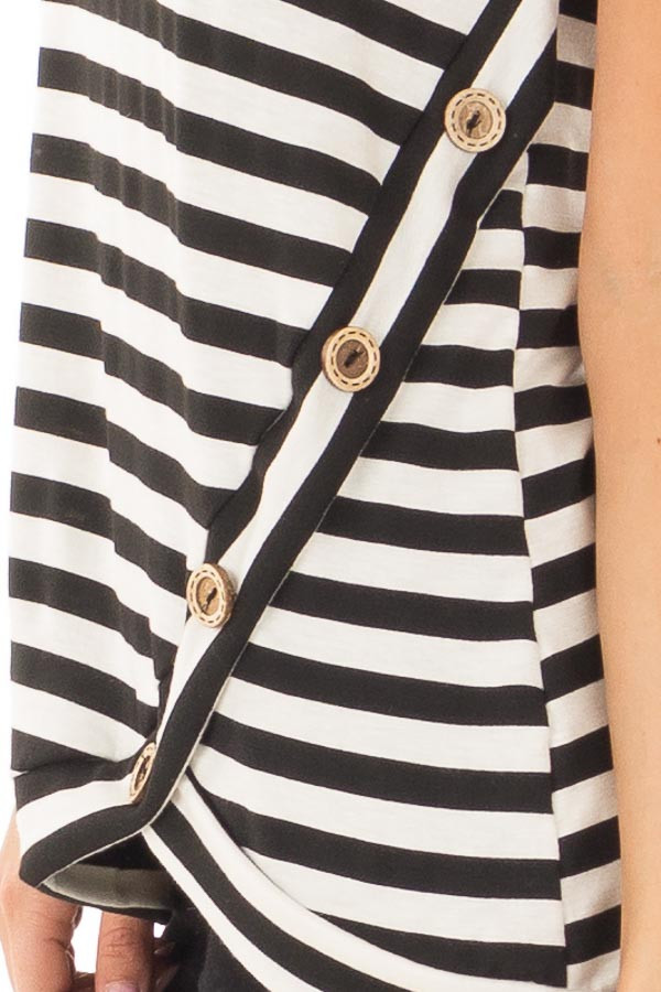 Black and White Striped Top with Button Detail detail