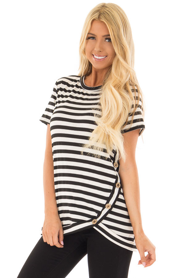 Black and White Striped Top with Button Detail front close up