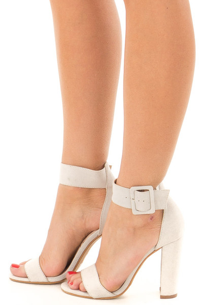 Cement Faux Suede High Heel with Thick Buckle Ankle Strap side view