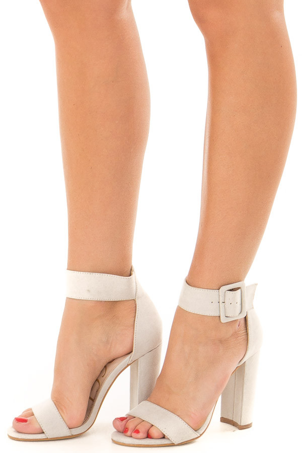 Cement Faux Suede High Heel with Thick Buckle Ankle Strap front side view