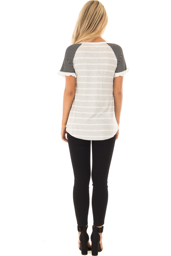 Grey Striped Top with Raglan Sleeves and Ruffle Detail back full body