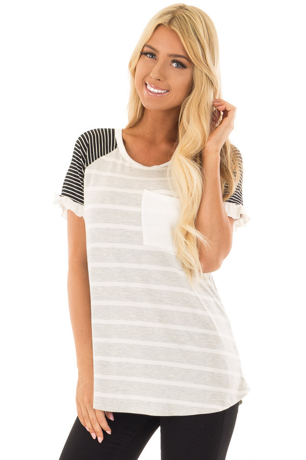 Grey Striped Top with Raglan Sleeves and Ruffle Detail front close up