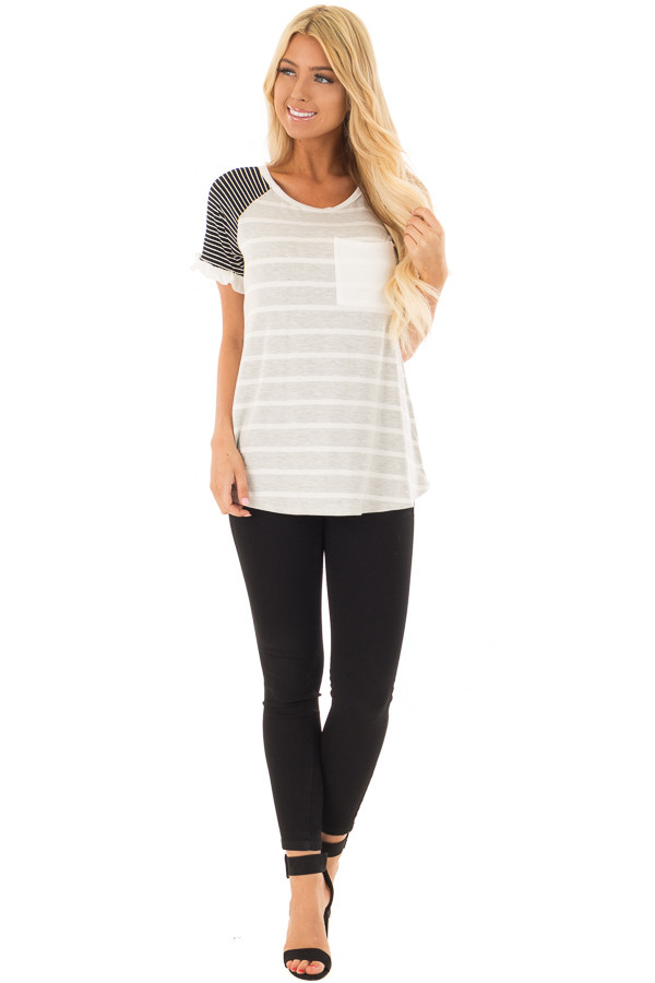 Grey Striped Top with Raglan Sleeves and Ruffle Detail front full body