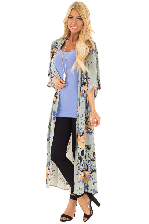 Sage Floral Print Long Kimono front close up