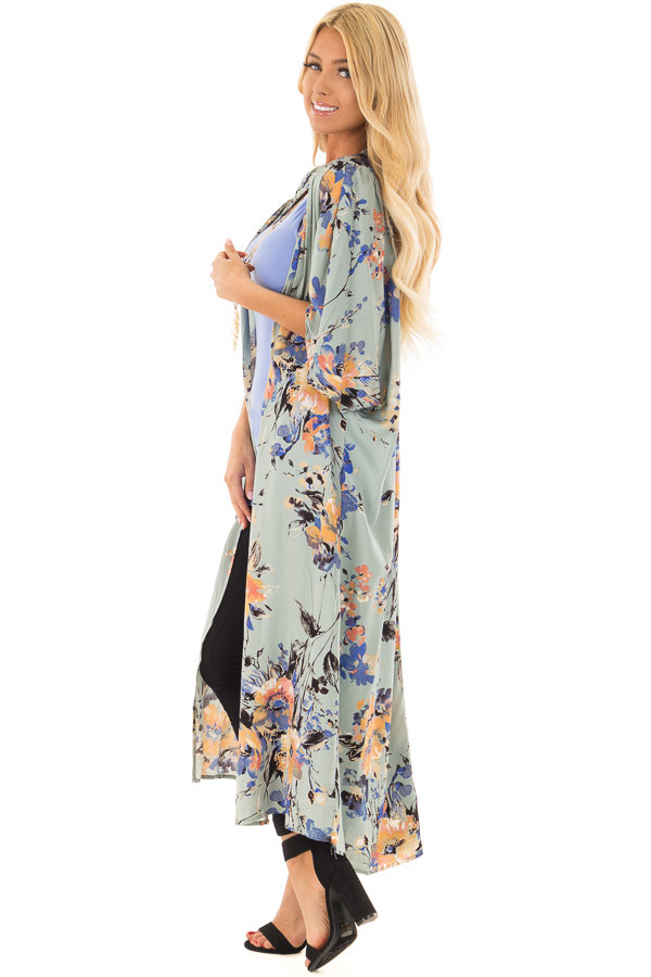 Sage Floral Print Long Kimono side full body