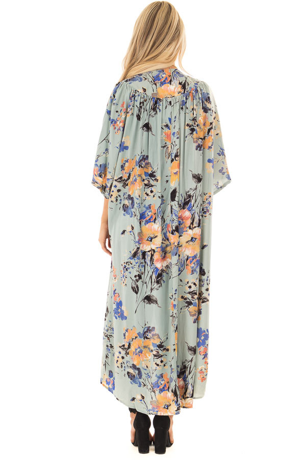Sage Floral Print Long Kimono back full body