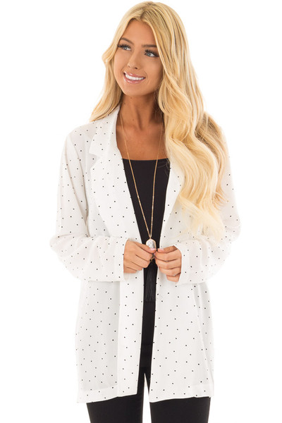 Ivory Loose Fit Blazer with Black Polka Dots front close up