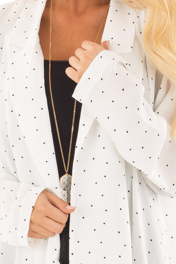 Ivory Loose Fit Blazer with Black Polka Dots detail