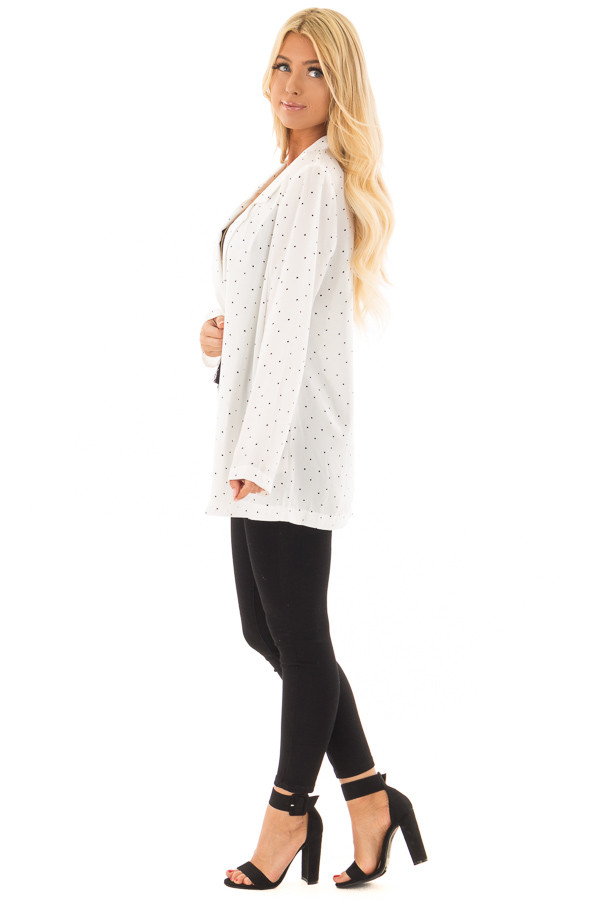 Ivory Loose Fit Blazer with Black Polka Dots side full body