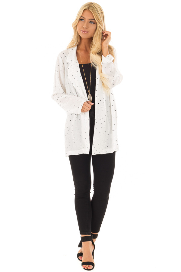 Ivory Loose Fit Blazer with Black Polka Dots front full body