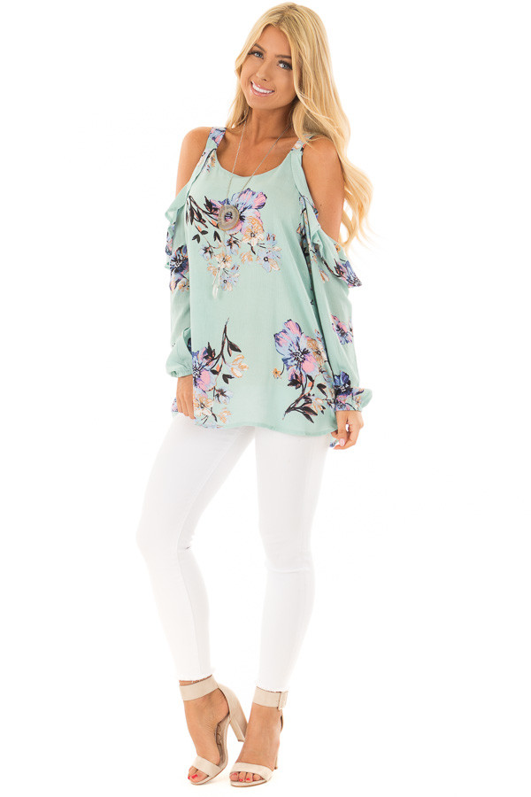 Mint Floral Print Long Sleeve Cold Shoulder Top front full body