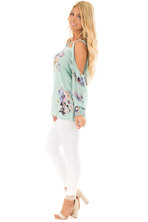 Mint Floral Print Long Sleeve Cold Shoulder Top side full body