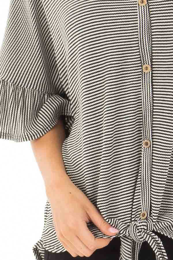 Black and White Striped Button Up Top with Front Tie Detail detail