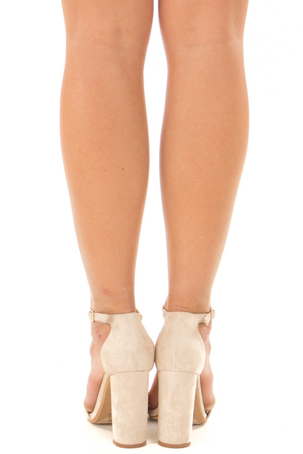 Nude Faux Suede Sandal High Heel with Thin Ankle Strap back view