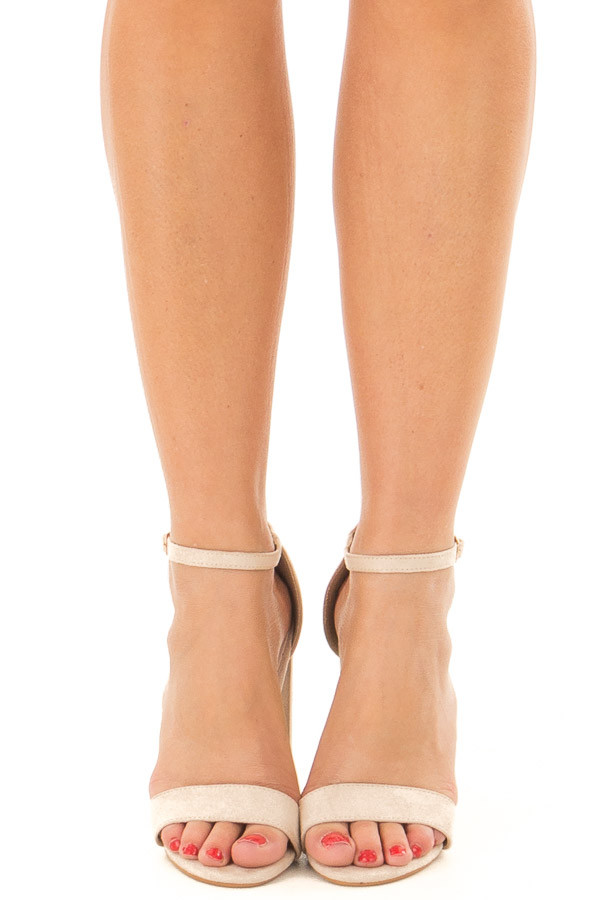 Nude Faux Suede Sandal High Heel with Thin Ankle Strap front view
