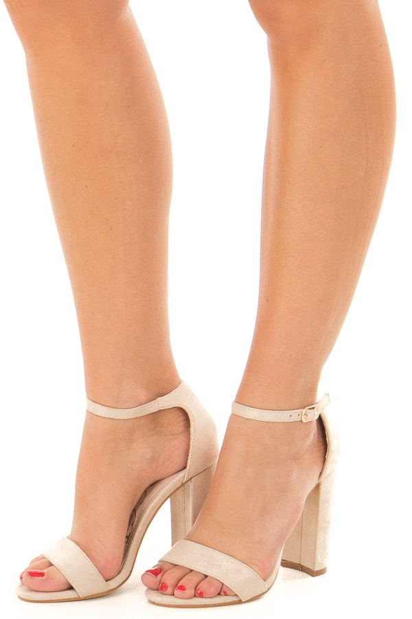 Nude Faux Suede Sandal High Heel with Thin Ankle Strap front side view