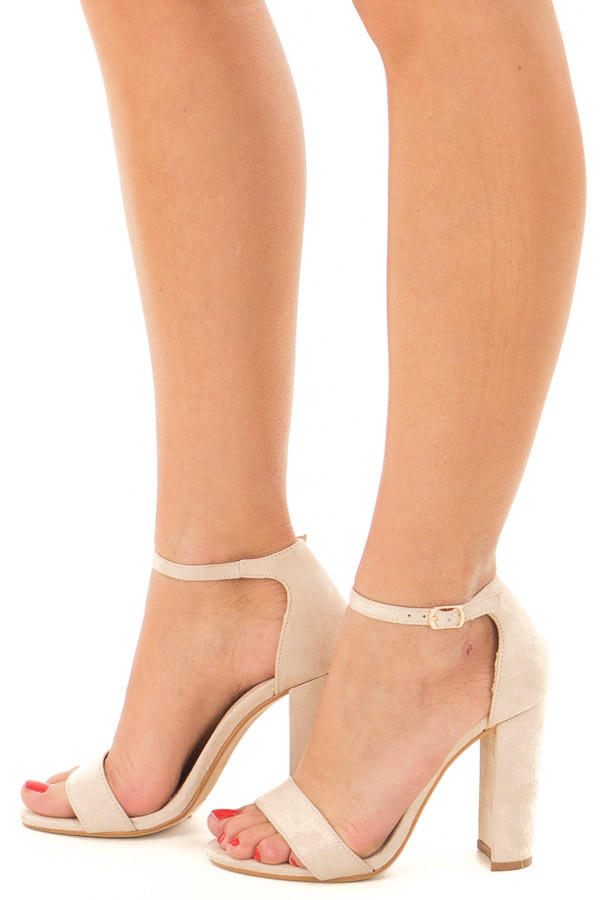 Nude Faux Suede Sandal High Heel with Thin Ankle Strap side view