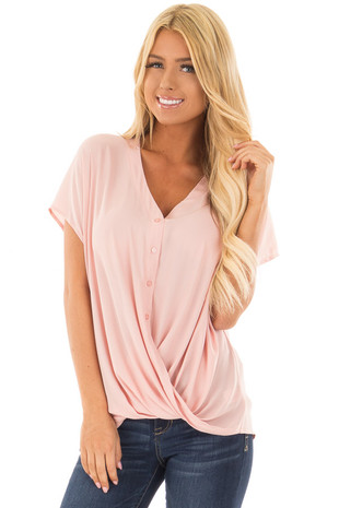 Dusty Blush Short Sleeve Button Down Blouse front close up
