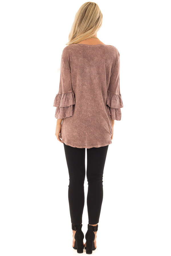 Chocolate Mineral Wash Bell Sleeve Top back full body