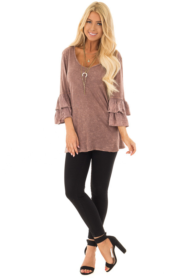 Chocolate Mineral Wash Bell Sleeve Top front full body