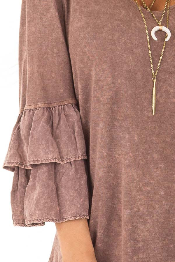 Chocolate Mineral Wash Bell Sleeve Top detail