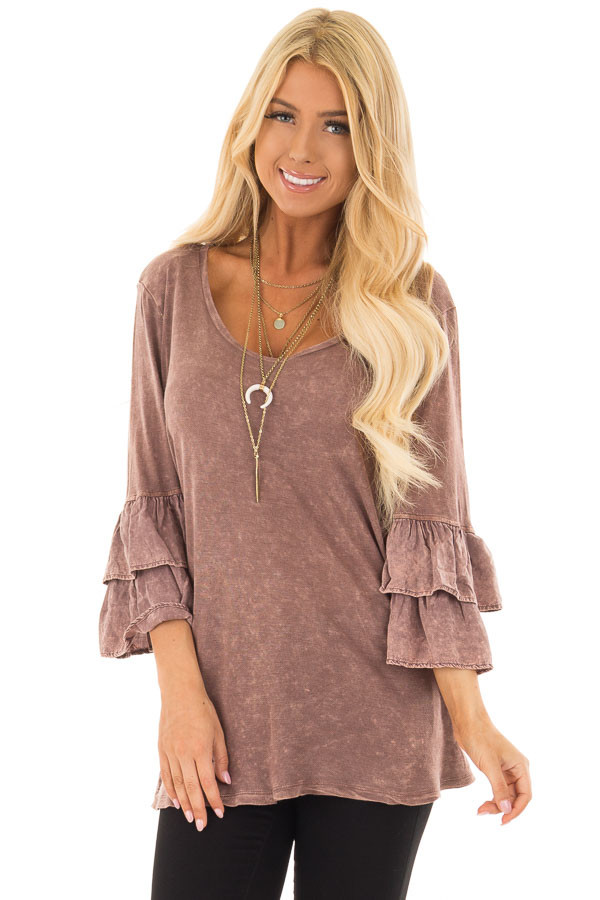 Chocolate Mineral Wash Bell Sleeve Top front close up