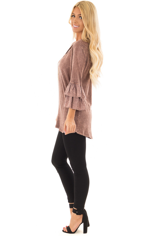 Chocolate Mineral Wash Bell Sleeve Top side full body