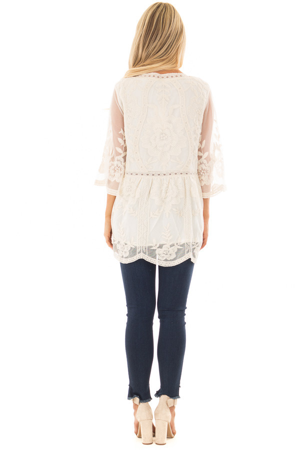 Cream Floral Lace Top with Sheer 3/4 Sleeves back full body