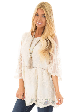 Cream Floral Lace Top with Sheer 3/4 Sleeves front close up