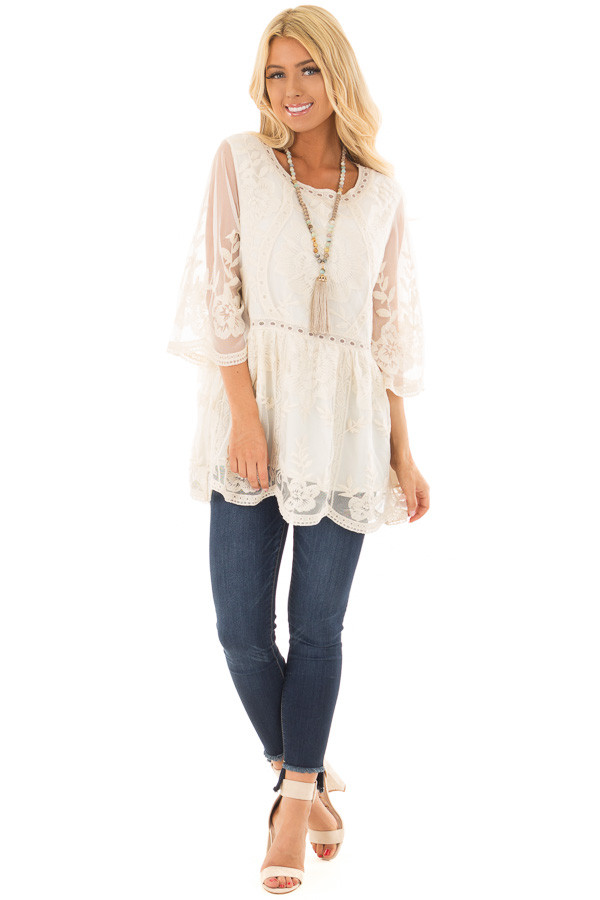 Cream Floral Lace Top with Sheer 3/4 Sleeves front full body