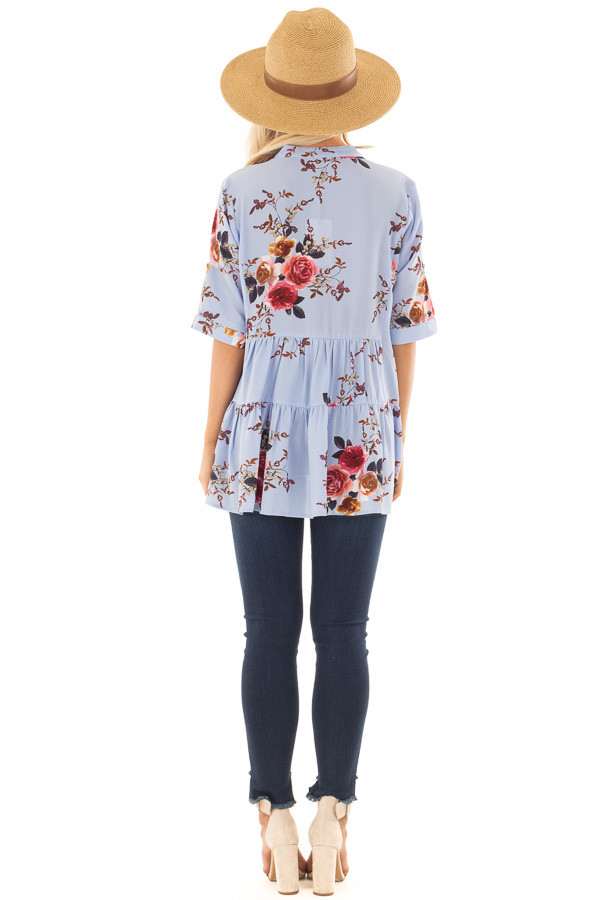 Sky Blue Floral Print Button Up Top back full body