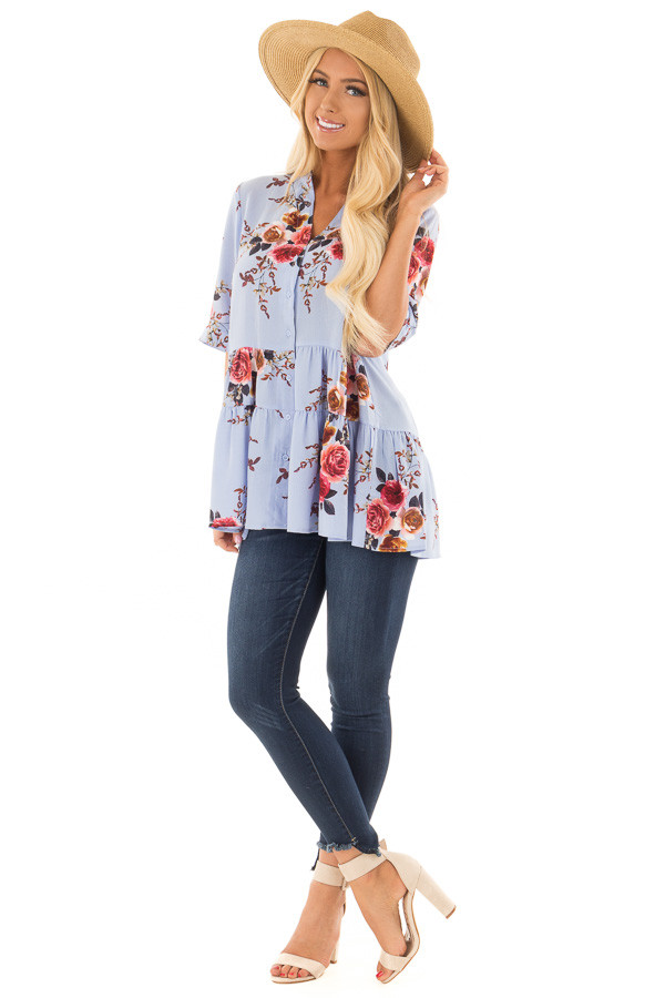 Sky Blue Floral Print Button Up Top front full body