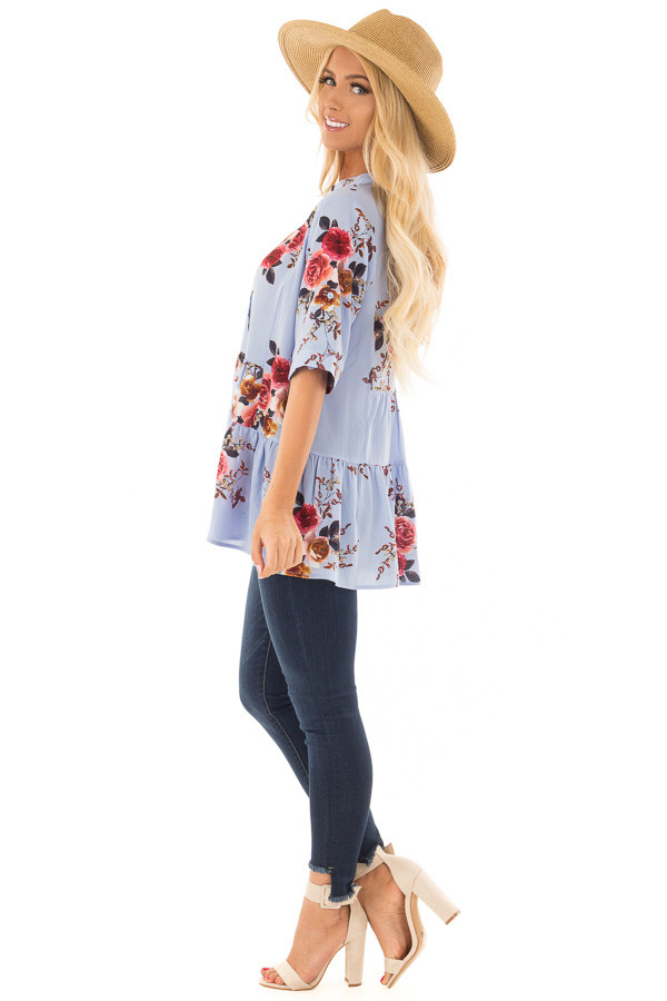 Sky Blue Floral Print Button Up Top side full body