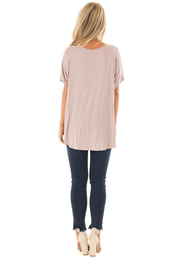 Taupe Crossover Drape Style Tee with Criss Cross Neckline back full body
