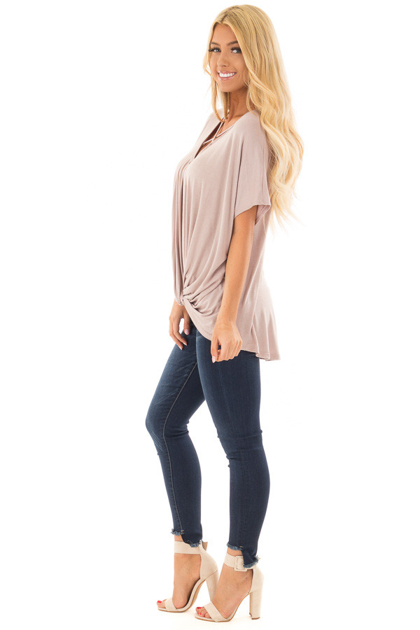 Taupe Crossover Drape Style Tee with Criss Cross Neckline side full body