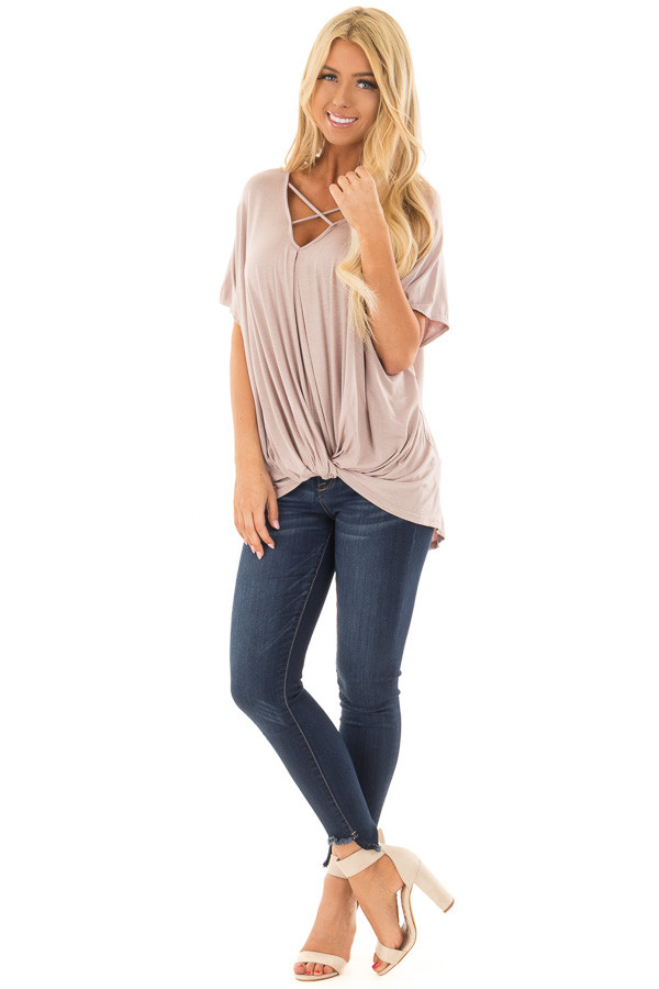 Taupe Crossover Drape Style Tee with Criss Cross Neckline front full body