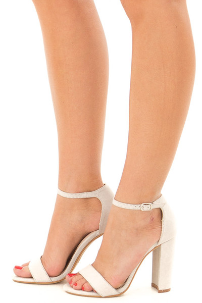 Cement Faux Suede Sandal High Heel with Thin Ankle Strap side view