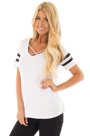 White Criss Cross Tee Shirt with Black Varsity Stripes front close up