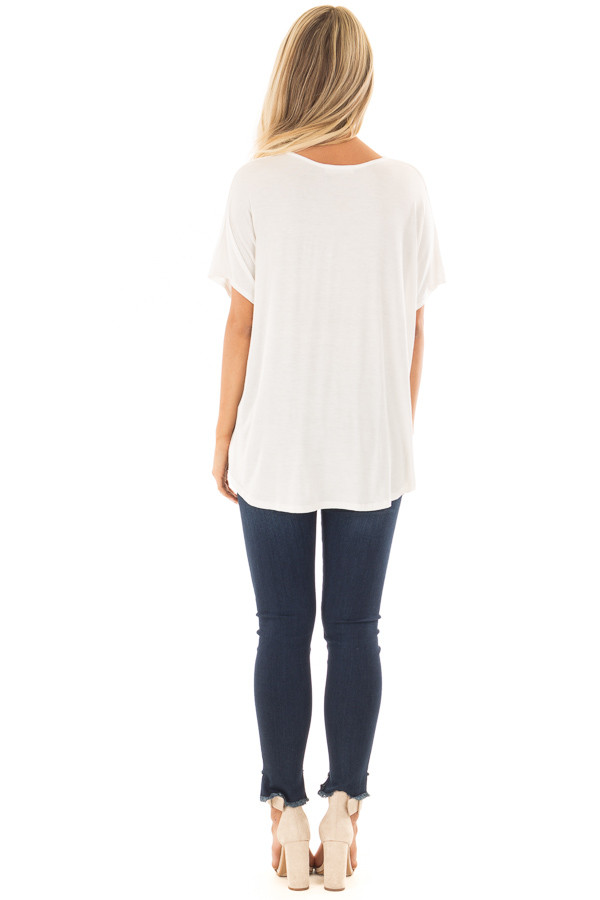 Ivory Crossover Drape Style Tee with Criss Cross Neckline back full body