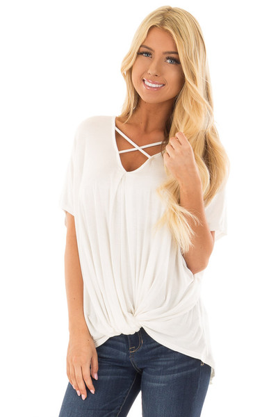 Ivory Crossover Drape Style Tee with Criss Cross Neckline front close up