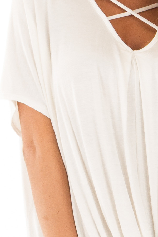 Ivory Crossover Drape Style Tee with Criss Cross Neckline detail