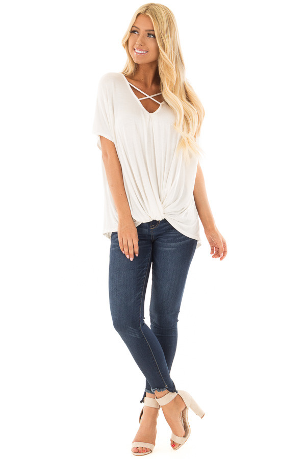 Ivory Crossover Drape Style Tee with Criss Cross Neckline front full body