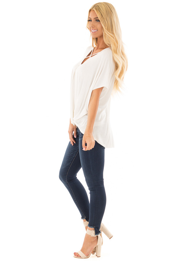 Ivory Crossover Drape Style Tee with Criss Cross Neckline side full body