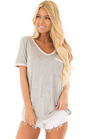 Heather Grey V-Neck Short Sleeve Tee with Front Pocket front close up