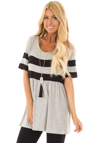 Heather Grey Tunic with Black Stripe Detail front close up
